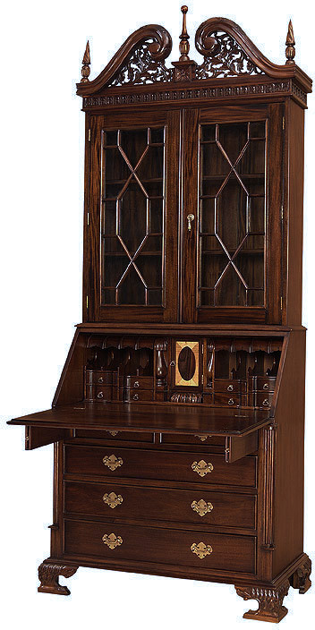 Chippendale Secretary Bookcase Laurelcrown
