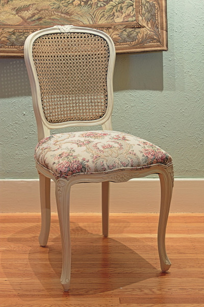 Louis XV Chair with Antique White Frame and Antiqued Caning