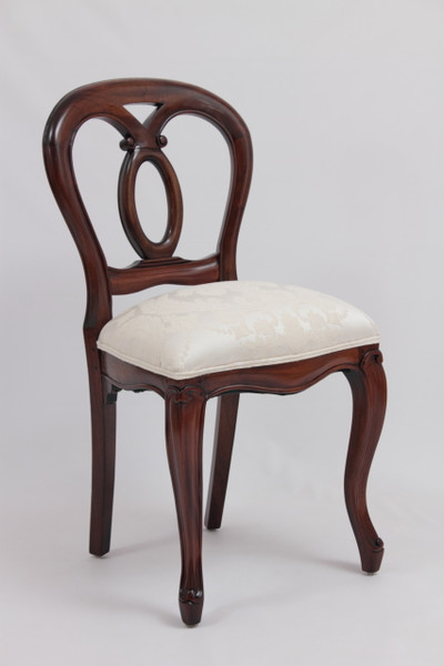 Victorian dining chair in Ivory Damask upholstery - Antique Reproduction Dining Chairs Laurel Crown