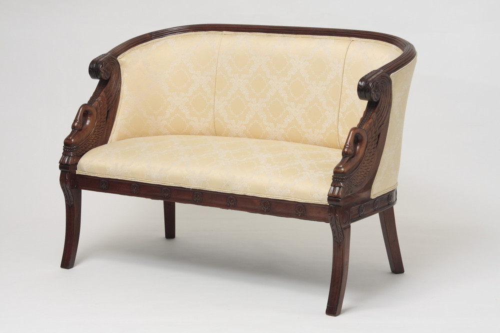 Hand carved swan loveseats handmade mahogany 2 seater sofas upholstered antique style Antique loveseat styles