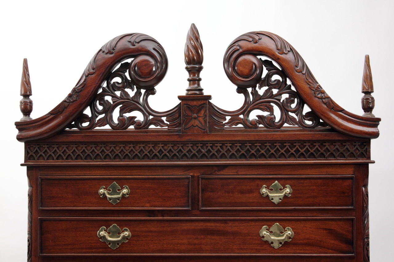 Chippendale Highboy Laurel Crown