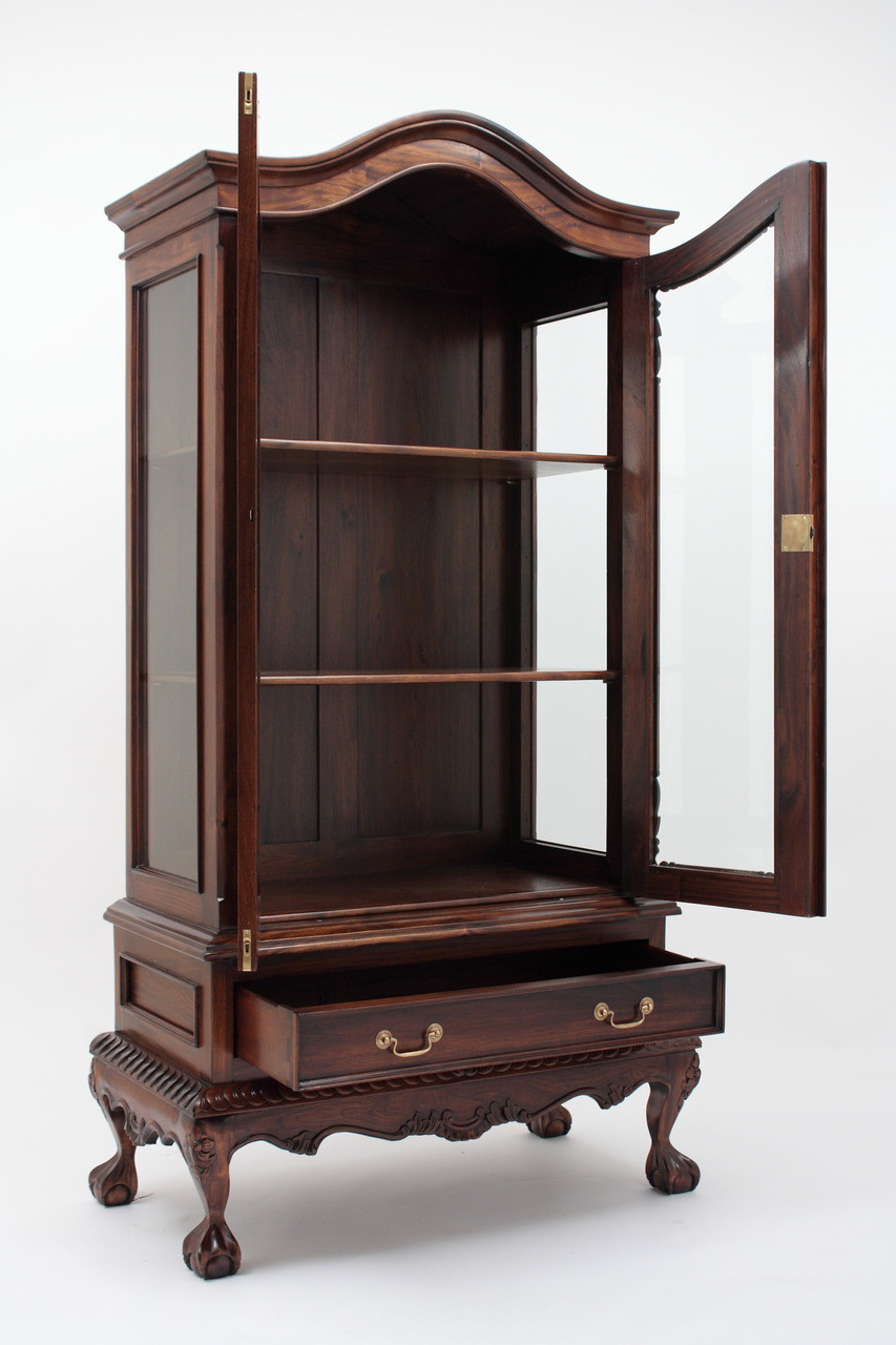 Chippendale China Cabinet Handmade Mahogany Wood Curios