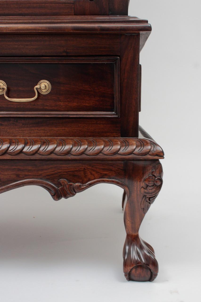 Chippendale China Cabinet Handmade Mahogany Wood Curios