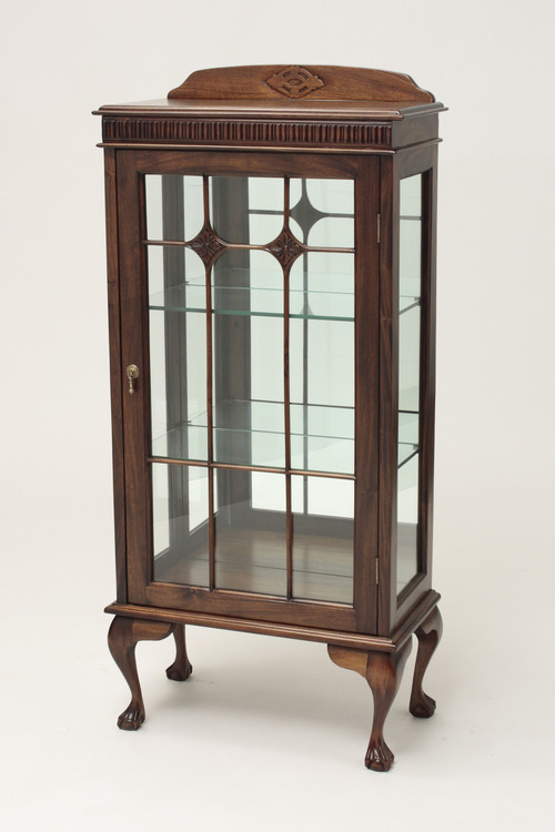 Small Chippendale Cabinet Mahogany China Cabinet Laurel Crown