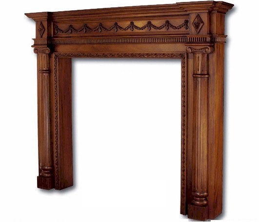 Large Mahogany Fireplace Mantel with Classical Columns   48  OpeningFireplace Mantel Surrounds   Laurel Crown. Old Wood Fireplace Mantels. Home Design Ideas