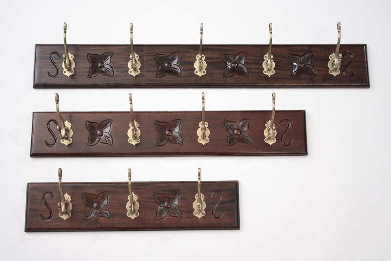 Mahogany Wall Coat Hangers Rack - Small