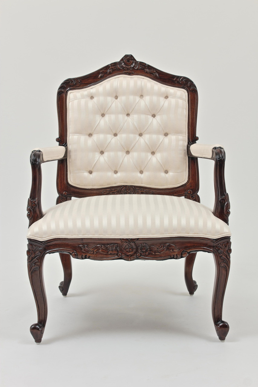Louis XV Fauteuil Armchair In Striped Ivory Jacquard
