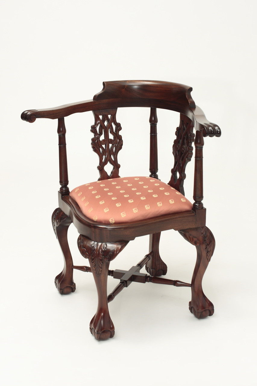 ... Antique Chippendale Corner Chair. Image 1. Image 1 - Antique Chippendale Corner Chair Laurel Crown