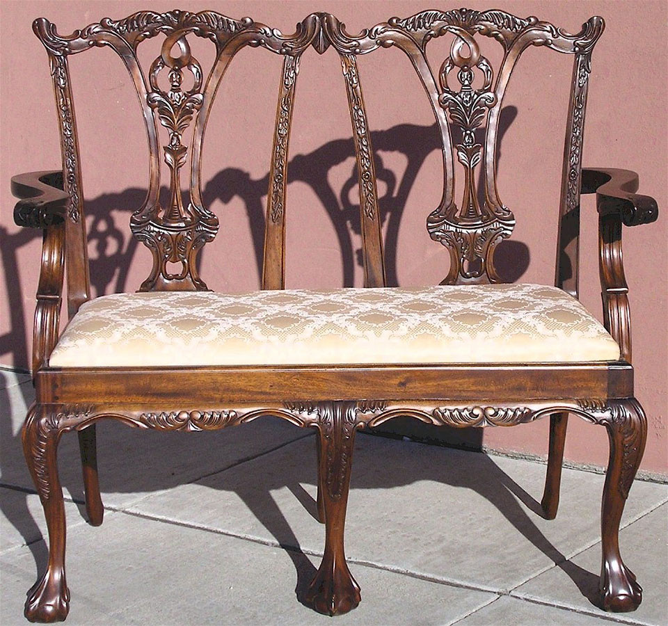 Chippendale Furniture Chippendale Style 2 Seater Chairs Mahogany Parlor Benches