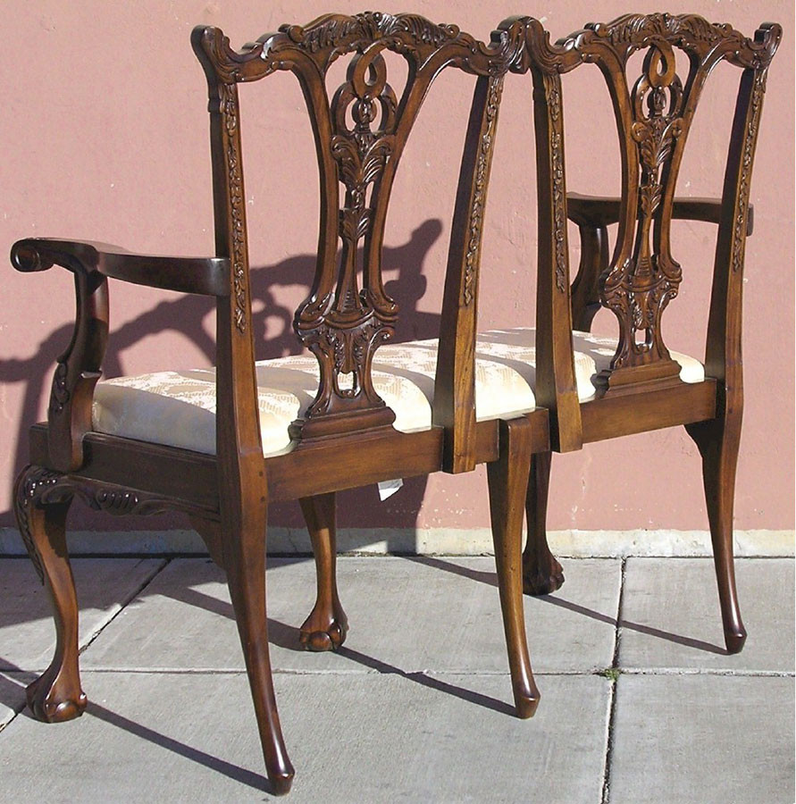 Chippendale Style 2 Seater Chairs Mahogany Parlor Benches Mahogany Sitting Room Lounges