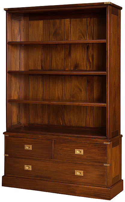Military Bookshelf 3 Drawers Home Office Bookcases Laurel Crown Classical Victorian