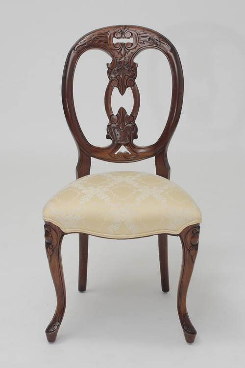 French Medallion-Back Chair in Cream Floral Damask & French Medallion Chairs | Laurel Crown