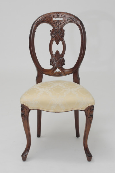 Genial French Medallion Back Chair In Cream Floral Damask