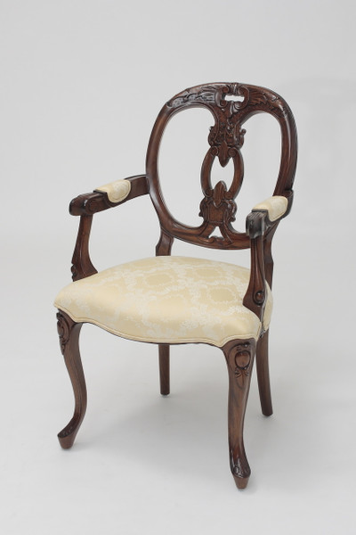 French Medallion-Back Biola Armchair