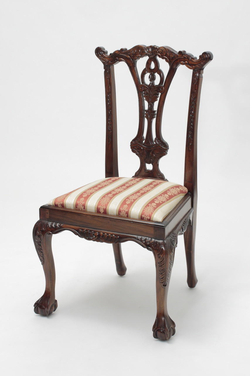 Chippendale Mahogany Ball and Claw Chairs - Antique Reproduction Dining Chairs Laurel Crown