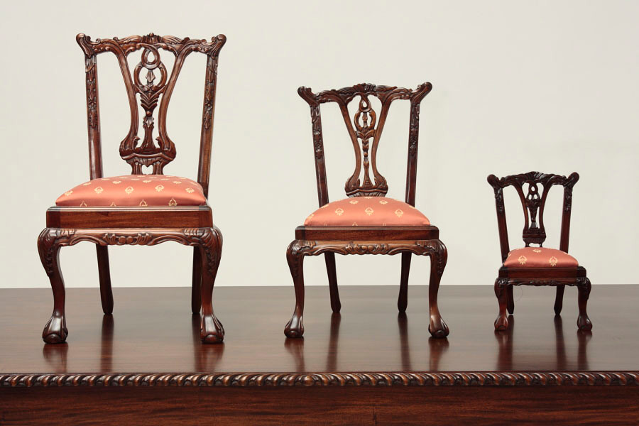 Miniature Chippendale Doll Chair 1/2 - Miniature Chippendale Doll Chair 1/2 LaurelCrown
