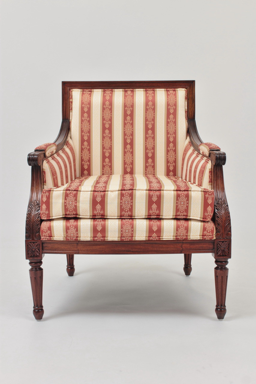 French Bergere Armchair In Regal Marco Polo Striped Jacquard