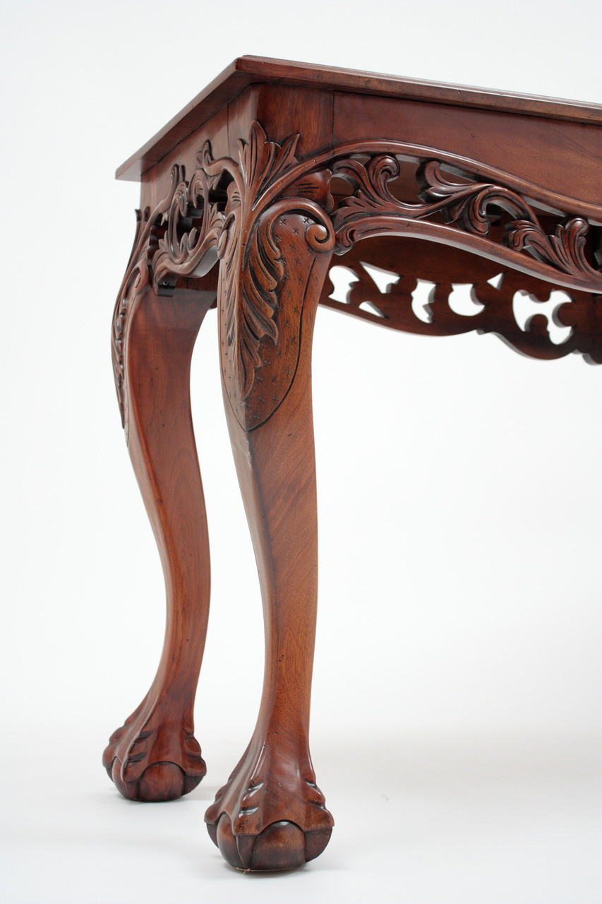 Chippendale Console Table Ball And Claw Feet Laurel Crown