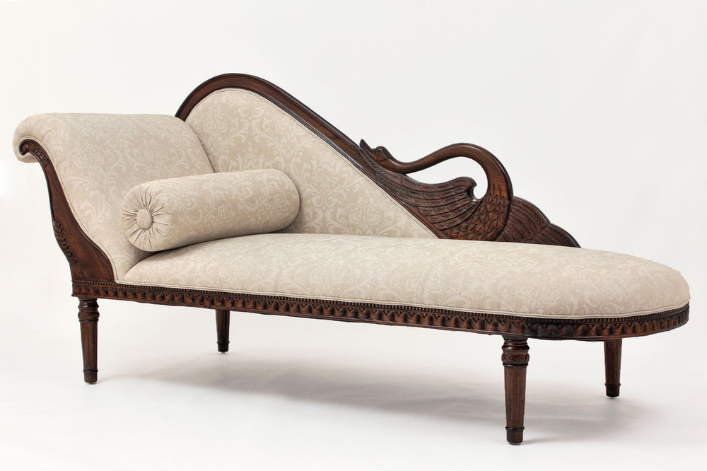 Swan fainting couches upholstered chaise lounges for Chaise lounge antique furniture