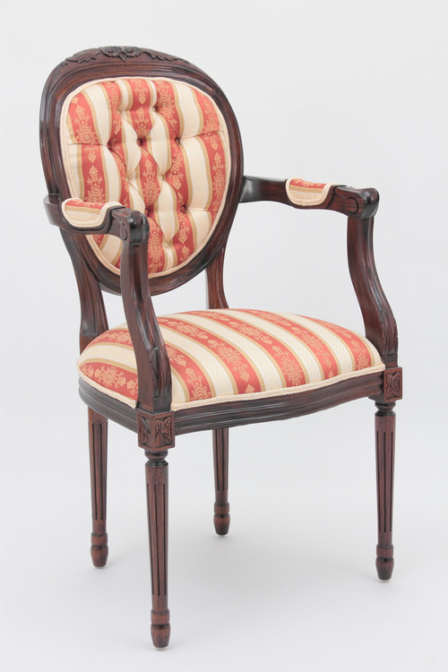 Louis XVI Medallion Back Armchair LaurelCrown