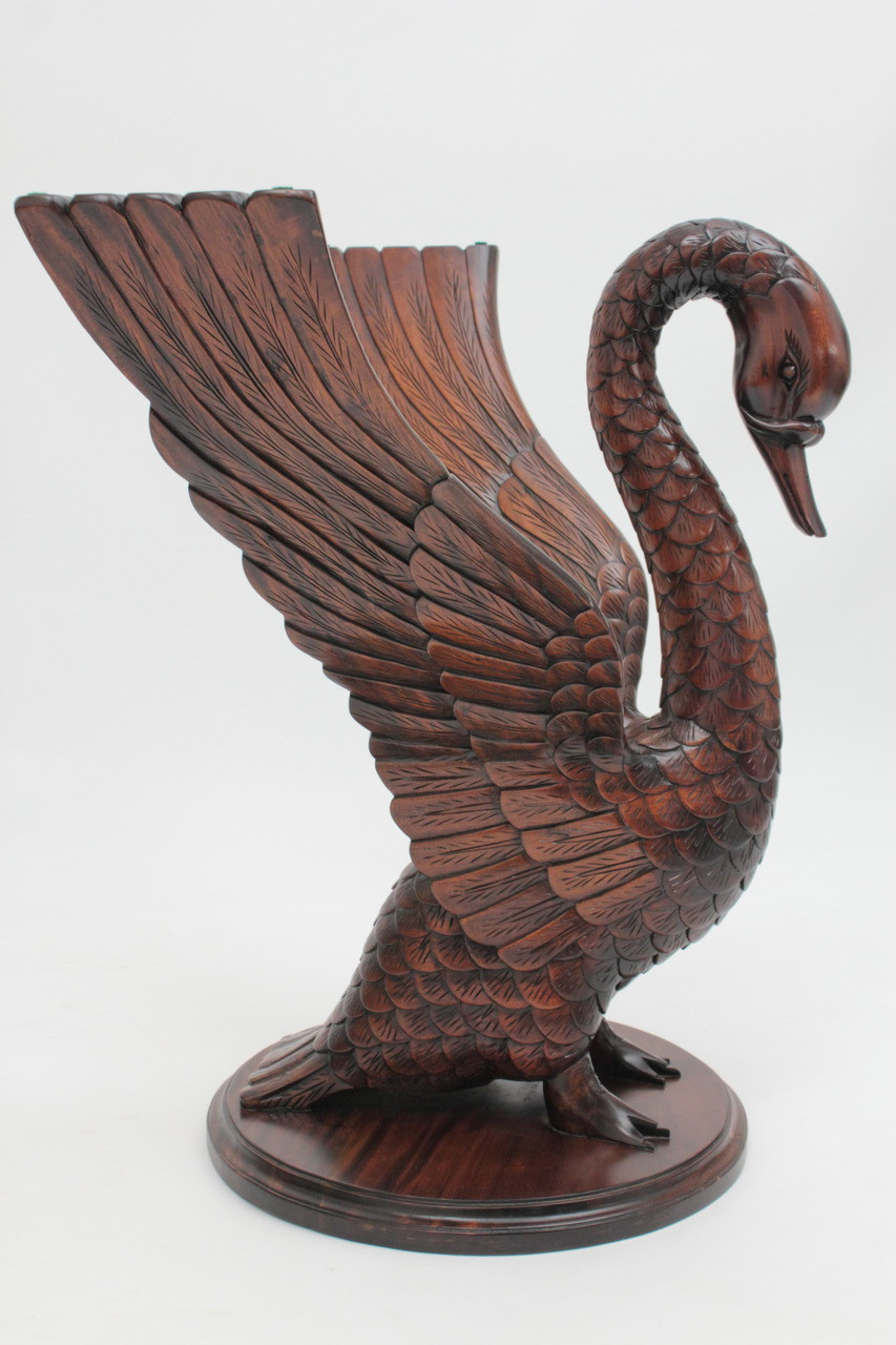 See The Swan Table Carved From Solid Mahogany Wood