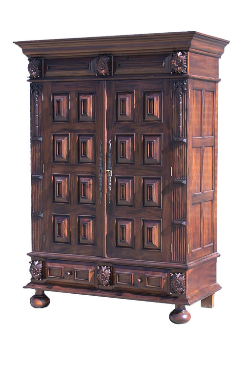 large and ornate antique armoire laurel crown. Black Bedroom Furniture Sets. Home Design Ideas