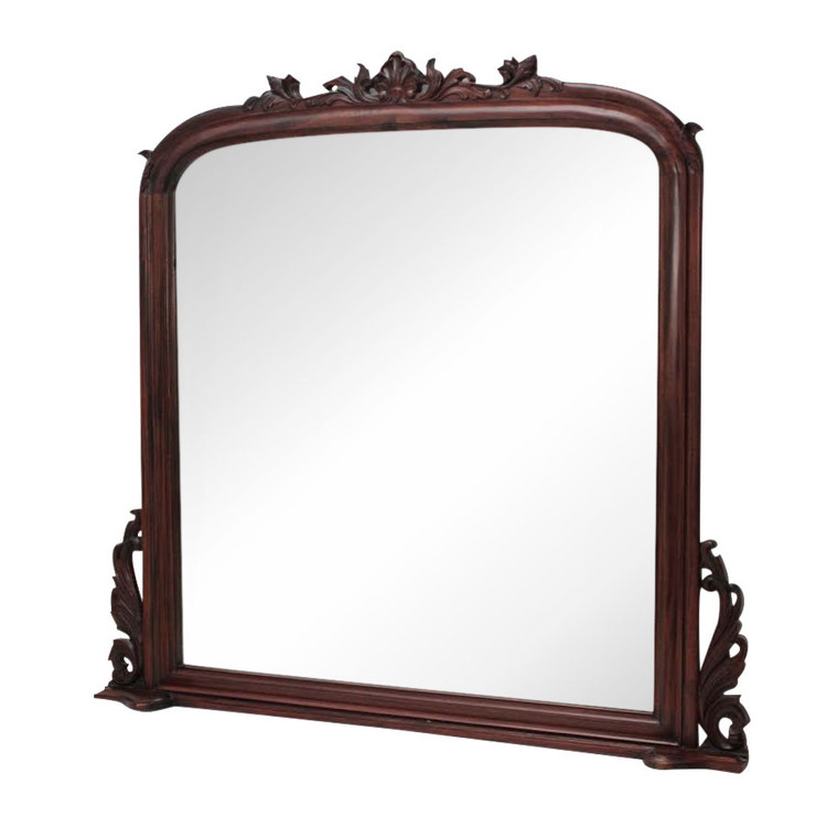 Large mahogany mantel mirror laurel crown for Fireplace mirrors