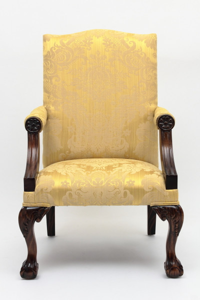 Reproduction Gainsborough Armchair with gold damask upholstery