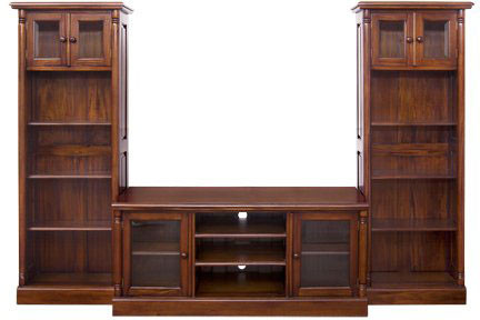 Mahogany Entertainment Center and Bookshelves