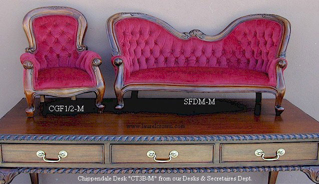 Miniature Victorian Double-End Show-Frame Sofa
