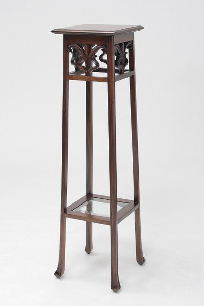 "Square Plant Stand in Mahogany Wood - 45"" Tall"