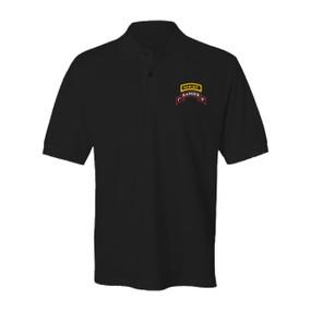 1-75 Ranger Battalion w/ Tab Embroidered Cotton Polo Shirt