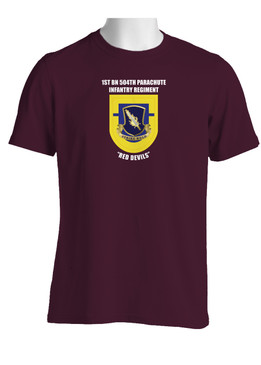 "1-504th Parachute Infantry Regiment ""Crest & Flash""  (Chest) Cotton Shirt"