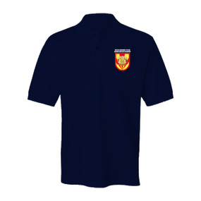 "3/4 ADA Battalion (Airborne) ""Flash & Crest""  Embroidered Cotton Polo Shirt"