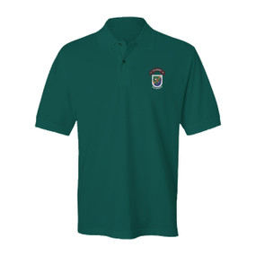 """1-75 Ranger Battalion """"Old Flash & New Scroll"""" Embroidered Cotton Polo Shirt"""