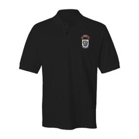 "2-75 Ranger Battalion ""Old Flash & Original Scroll""  Embroidered Cotton Polo Shirt"
