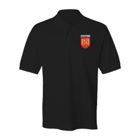 """4-319th Airborne Field Artillery Regiment """"Crest & Flash"""" Embroidered Cotton Polo Shirt"""