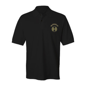"""27th Infantry Regiment """"Wolfhounds"""" (Subdued) Embroidered Cotton Polo Shirt"""