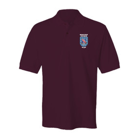 """2-327th """"Crest & Flash"""" Embroidered Cotton Polo Shirt"""