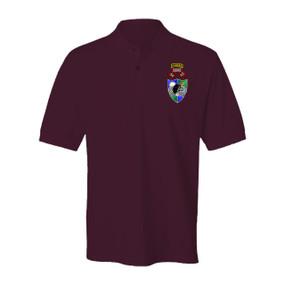"1- 75th Ranger Battalion DUI ""Original Scroll"" - Black Beret w/ Ranger Tab Embroidered Cotton Polo Shirt"