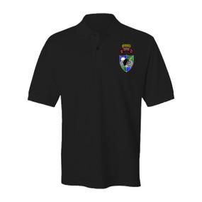 2-75th Ranger Battalion DUI-Original Scroll -Black Beret w/ Ranger Tab Embroidered Cotton Polo Shirt