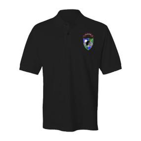 3-75 Ranger Battalion DUI-Black Beret Embroidered Cotton Polo Shirt