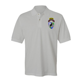 3-75 Ranger Battalion DUI-Black Beret w/ Ranger Tab Embroidered Cotton Polo Shirt