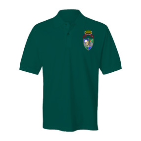 3-75 Ranger Battalion DUI-Tan Beret w/ Ranger Tab Embroidered Cotton Polo Shirt