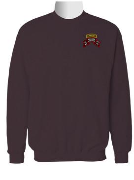 2-75th Ranger Battalion Original Scroll w/ Ranger Tab Embroidered Sweatshirt