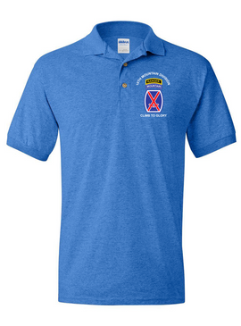 10th Mountain Division w/ Ranger Tab Embroidered Cotton Polo Shirt