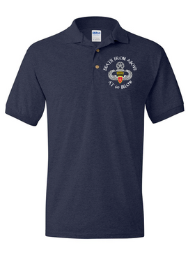 4th Brigade Combat Team (Airborne) w/ Ranger Tab Embroidered Cotton Polo Shirt