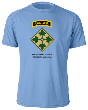 4th Infantry Division with Ranger Tab Moisture Wick Shirt -(FF)