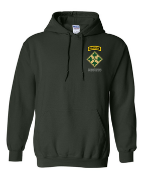 4th Infantry Division w/ Ranger Tab  Embroidered Hooded Sweatshirt