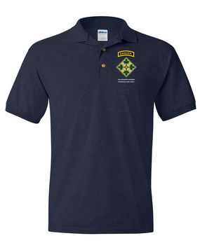 4th Infantry Division w/ Ranger Tab Embroidered Cotton Polo Shirt
